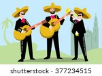 mariachi band in sombrero with... | Shutterstock .eps vector #377234515