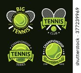 set of old style tennis labels... | Shutterstock .eps vector #377239969