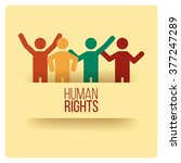 human rights design over yellow ... | Shutterstock .eps vector #377247289