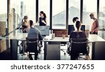 business people using computer... | Shutterstock . vector #377247655
