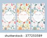 cute vintage doodle floral...   Shutterstock .eps vector #377253589