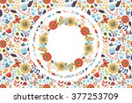 floral background with wreath... | Shutterstock .eps vector #377253709