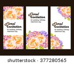 invitation with floral... | Shutterstock . vector #377280565