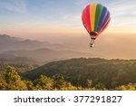 hot air balloon above high...   Shutterstock . vector #377291827