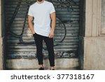 bearded guy wearing white blank ... | Shutterstock . vector #377318167