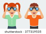 happy and curious girl and boy... | Shutterstock .eps vector #377319535