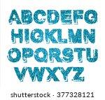 blue glitter sparkling alphabet.... | Shutterstock .eps vector #377328121