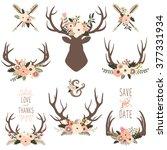 floral antlers elements | Shutterstock .eps vector #377331934