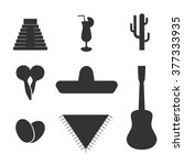 vector solid mexican flat set ... | Shutterstock .eps vector #377333935