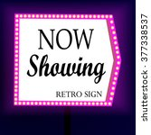 retro banner with glowing... | Shutterstock .eps vector #377338537