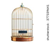Empty Bird Golden Cage Isolate...