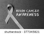 grey ribbon. brain cancer... | Shutterstock . vector #377345821