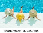 three women in bikini wearing a ... | Shutterstock . vector #377350405