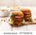 falafel burger with addition of ... | Shutterstock . vector #377350915