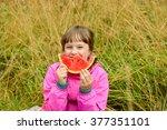 cute little girl eating... | Shutterstock . vector #377351101