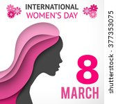 happy women's day greeting or... | Shutterstock .eps vector #377353075