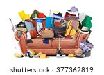 large leather sofa with a bunch ... | Shutterstock . vector #377362819