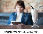 chocolate milkshake on the... | Shutterstock . vector #377369701