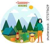 equipment for trekking ...   Shutterstock .eps vector #377375629