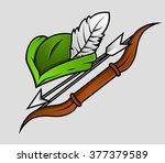 robin hood cap and archer...   Shutterstock .eps vector #377379589