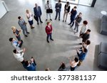 top view on enthusiastic... | Shutterstock . vector #377381137