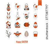 celebration easter icons.... | Shutterstock .eps vector #377387797