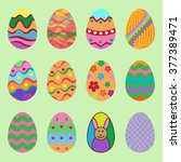 set of illustration easter eggs ... | Shutterstock .eps vector #377389471