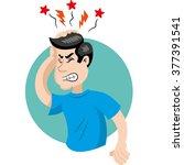 mascot person man with headache ... | Shutterstock .eps vector #377391541