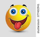 naughty tongue out emoticon... | Shutterstock .eps vector #377402941
