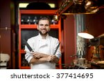 chef cook portrait with knifes... | Shutterstock . vector #377414695