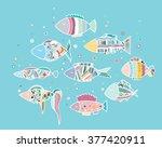 the fish in the aquarium.... | Shutterstock .eps vector #377420911