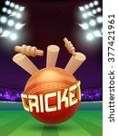 creative cricket ball hit the... | Shutterstock .eps vector #377421961