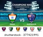 India VS Australia Cricket Match concept with other participant countries flags on stadium lights background.