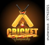 stylish text cricket in fire... | Shutterstock .eps vector #377422021
