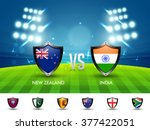 New Zealand VS India Cricket Match concept with other participant countries flags on stadium lights background.