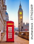 traditional red phone booth and ... | Shutterstock . vector #377422609