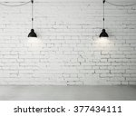 brick room with two ceiling... | Shutterstock . vector #377434111