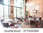 Stock photo abstract blur beautiful luxury restaurant interior for background 377434384