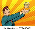 man promo your brand goes here | Shutterstock .eps vector #377435461