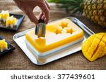 Small photo of asian confectionery, mango and coconut agar-agar