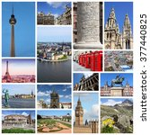 europe landmarks photo collage... | Shutterstock . vector #377440825