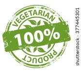 vegetarian product 100 percent... | Shutterstock . vector #377445301