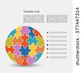 vector jigsaw puzzle template... | Shutterstock .eps vector #377447314