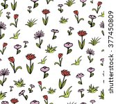 spring flowers and grass pattern | Shutterstock .eps vector #377450809