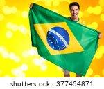 brazilian fan celebrates on... | Shutterstock . vector #377454871