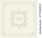 m monogram. outlined vintage... | Shutterstock .eps vector #377456515