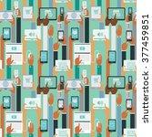 human hands holding smart... | Shutterstock .eps vector #377459851