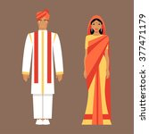 indian man and woman wearing... | Shutterstock .eps vector #377471179