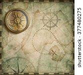 aged brass antique nautical... | Shutterstock . vector #377480275