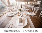 wedding table on fish eye. | Shutterstock . vector #377481145